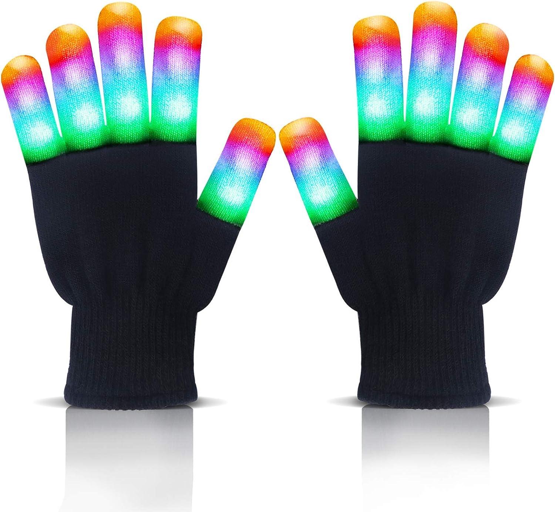 Led Gloves Light Up Gloves - Led Flashing Gloves - Finger Gloves For Halloween Novelty Party Supplies Toys: Clothing