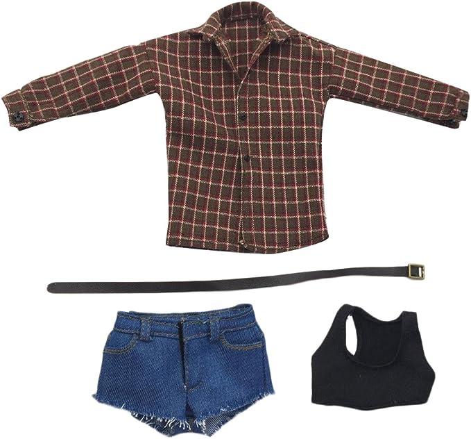 Fenteer 1:6 Escala Camisa Chaleco con Pantalones Cortos Ropa Atractiva para 12 Figura Figurita de Acción Muñecas - Camisa de Cuadros marrón: Amazon.es: Juguetes y juegos