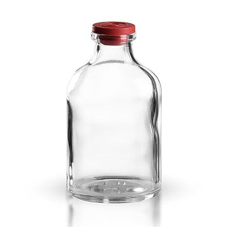 20 botellas de inyección (50 ml) de vidrio transparente, incluyetapón (de goma