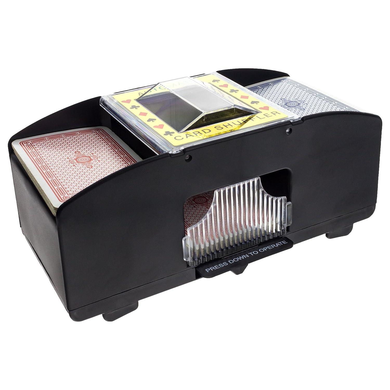 Smartfox Automatischer Kartenmischer Kartenmischmaschine für zwei Decks batteriebetrieben zum Mischen von Karten beim Pokern, Rommé und Skat auf Knopfdruck Karten sortieren