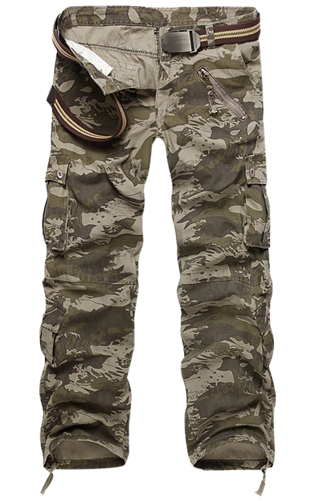 Gihuo Men's Casual Cotton Tactical Military Cargo Pants (34, Wave Camo)