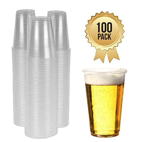 Half Pint Beer Glasses Cups Drinking 50 Disposable Clear Strong Plastic Pint