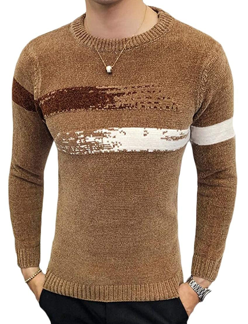 Generic Mens Slim Knitting Knitwear Patterns Crewneck Stylish Pullover Sweaters