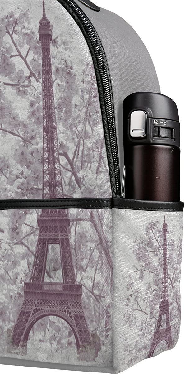 Mr.Weng Eiffel Tower And The Cherry Blossoms Printed Canvas Backpack For Girl and Children