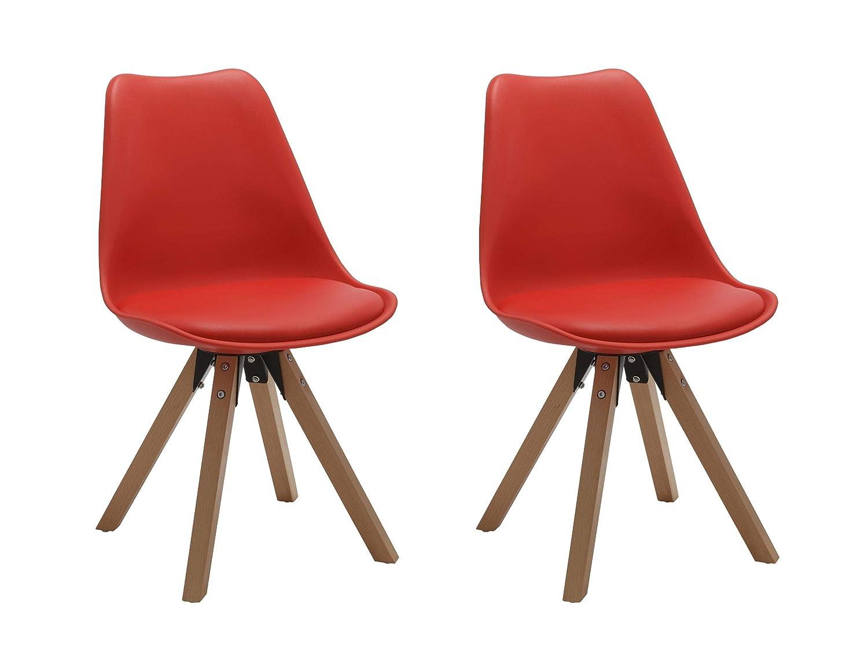 Set di 2 Sedia da sala da pranzo in plastica beige design retro con cuscino in similpelle stil scandinavo con piedini in legno cucina vintage selezione colore Duhome 518M Duhome Elegant Lifestyle®