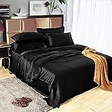 LILYSILK 4Pcs Silk Bedding Sheets Flat Sheet Fitted Sheet Oxford Pillowcases Set 19 Momme Pure Silk Black Queen