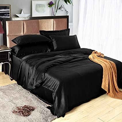 LILYSILK 4Pcs Black Silk Bedding Set Queen Flat Sheet Fitted Sheet Oxford  Pillowcases Set 19 Momme