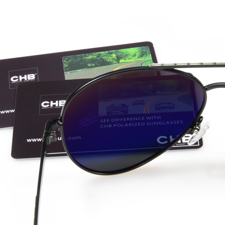CHB Gafas de Sol Aviador Marco Metal Protección UV 400 Ligeras Polarizadas Con Estuche de Gafas Para Hacer Ejercicio: Amazon.es: Ropa y accesorios