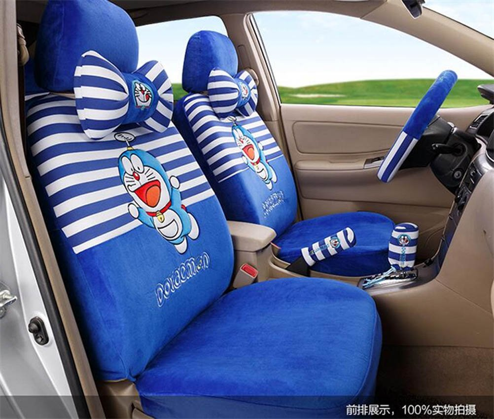 1 Sets lovely cartoon comfotable Universal Car five Seat covers Car Steering Wheel Cover women car seat cushion (blue strip) by PPSEXweiwei26