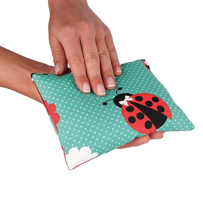 Bolsa de semillas calientes con olor a lavanda perfectas para tu bebé. Cojín térmico para aliviar dolores en el cuello, área cervical y zona ...