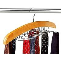 Wooden Tie Hanger,24 Tie Organizer Rack Hanger Holder 24 Hooks (Beige)