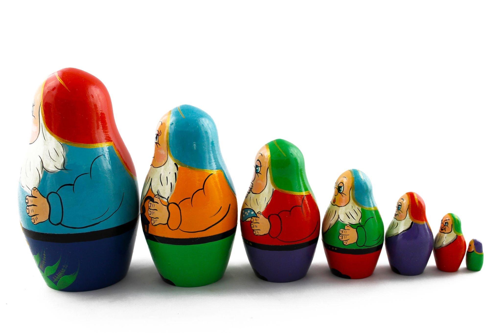 Matryoshka Russian Nesting Doll Babushka Beautiful Dwarf Seven Dwarfs Set 7 Pieces Pcs Hand Painted Handmade Souvenir Gift Handicraft by MATRYOSHKA&HANDICRAFT (Image #4)