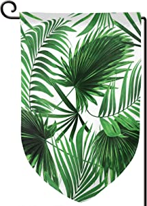 TENJONE Garden Flag Winter Yard Decor Bright,Realistic Vivid Leaves of Palm Tree Growth Ecology Lush Botany Themed Print,Double-Sided 12x18 inch