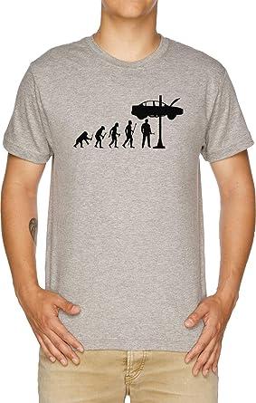Vendax Evolución De Hombre Y Mecánico Camiseta Hombre Gris: Amazon.es: Ropa y accesorios