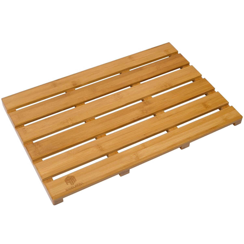 BAMBUROBA Bath Shower Mat Bamboo Bathroom Floor Non-Sliding Square Spa Sauna Mat with 22x15-Inch M011