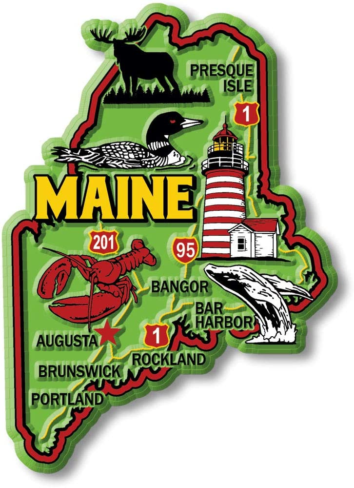 Maine State Magnet - Colorful Map