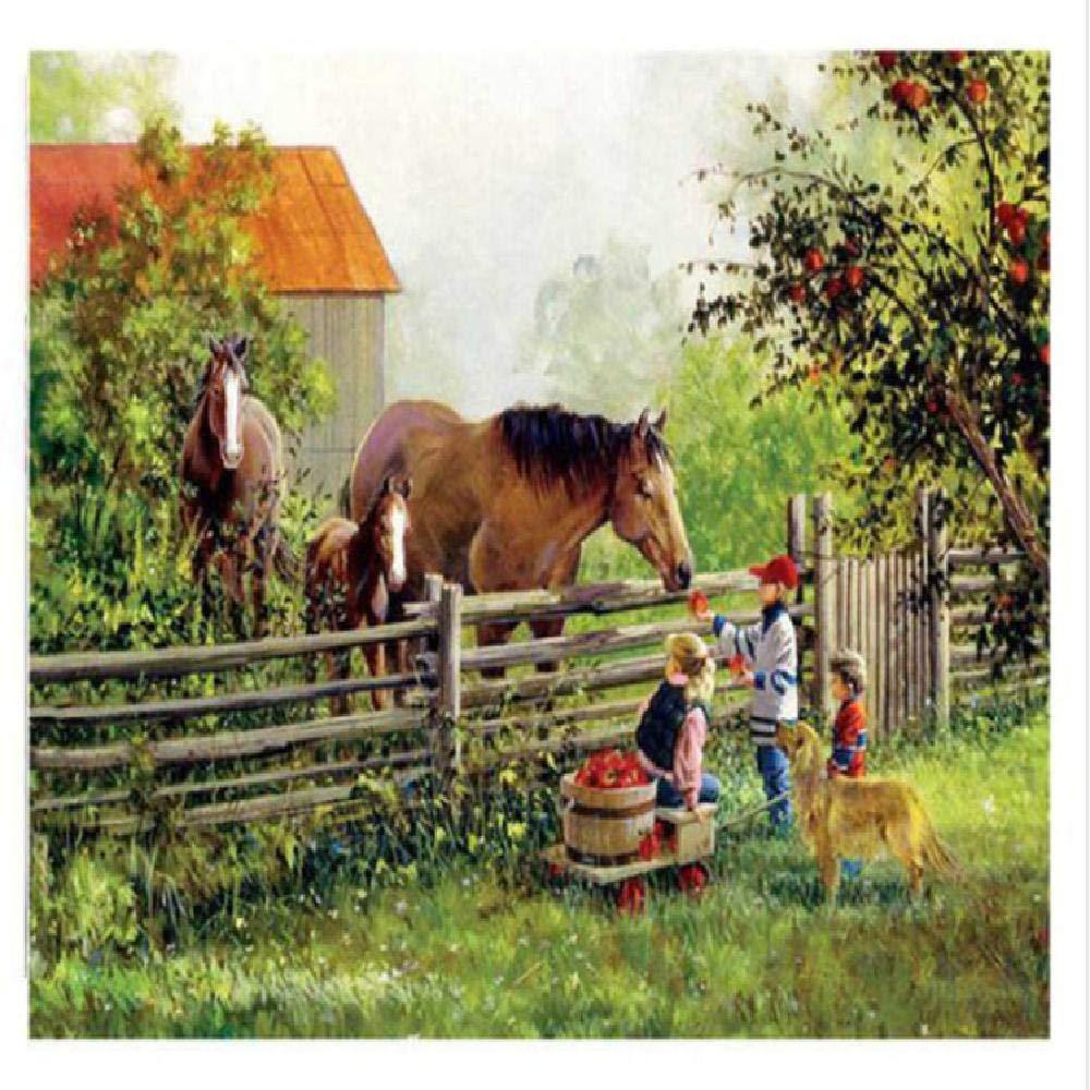 60x75cm  jjyyh Peintures par Numéros Enfant Et Cheval 120X160Cm Bricolage Peinture à l'huile Linen Toile pour Adultes Les Enfants Débutants des Gamins' Jouet Numéros Peinture par Décoration Murale