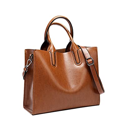 ed32bed4e2 Promini Womens Large Capacity Greased Leather Top Handle Satchel Handbag  Fashion Purse Shoulder Bag brown