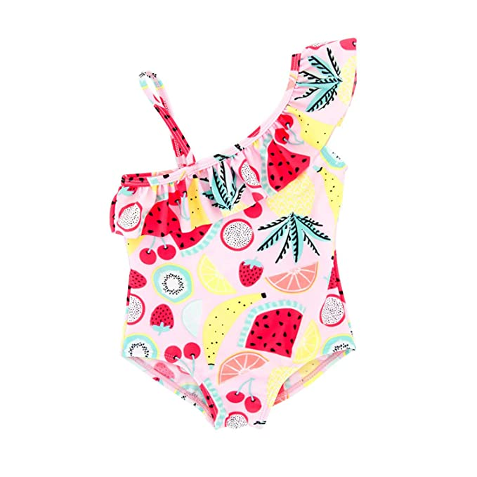 Symbol Of The Brand Children Girls Flamingo Swimwear Kids Striped Ins Fashion One Piece Bathing Suit Boutique Girls Beach Wear Swimwear