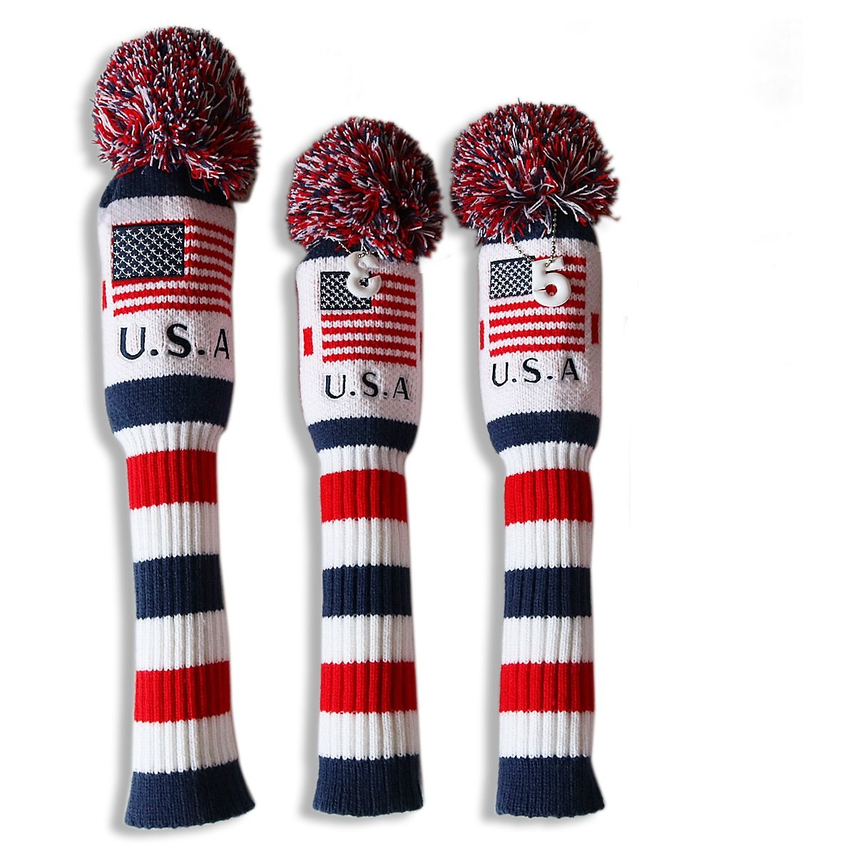 Craftsman Golf US Flag Knit Pom Pom White Blue Red Driver,Fairway Wood, Hybrid Head Cover Headcover for Callaway Mizuno Cobra Taylormade (3pcs (#1,3,5))