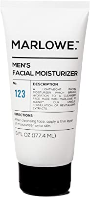 MARLOWE. No. 123 Men's Facial Moisturizer 6 oz | Lightweight Daily Face Lotion for Men | Best for Dry or Oily Skin | Made wit