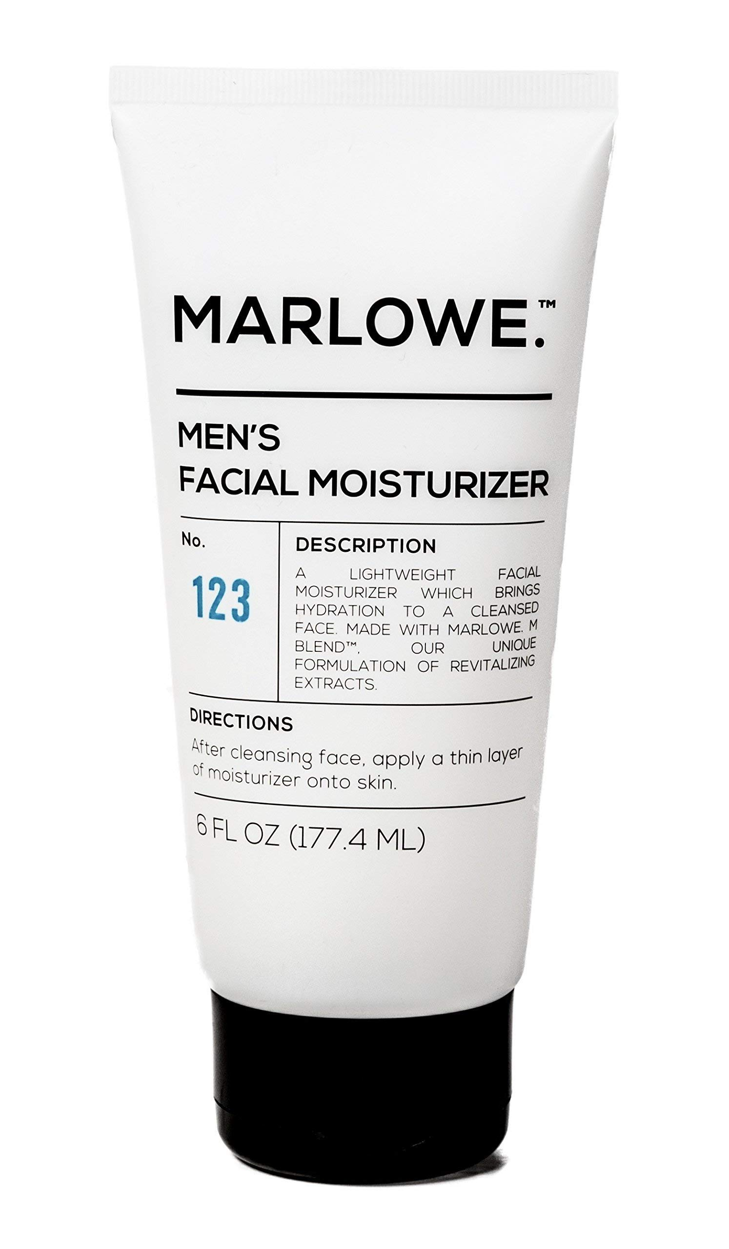 MARLOWE. No. 123 Men's Facial Moisturizer 6 oz | Lightweight Daily Face Lotion for Men | Best for Dry or Oily Skin | Includes Natural Extracts