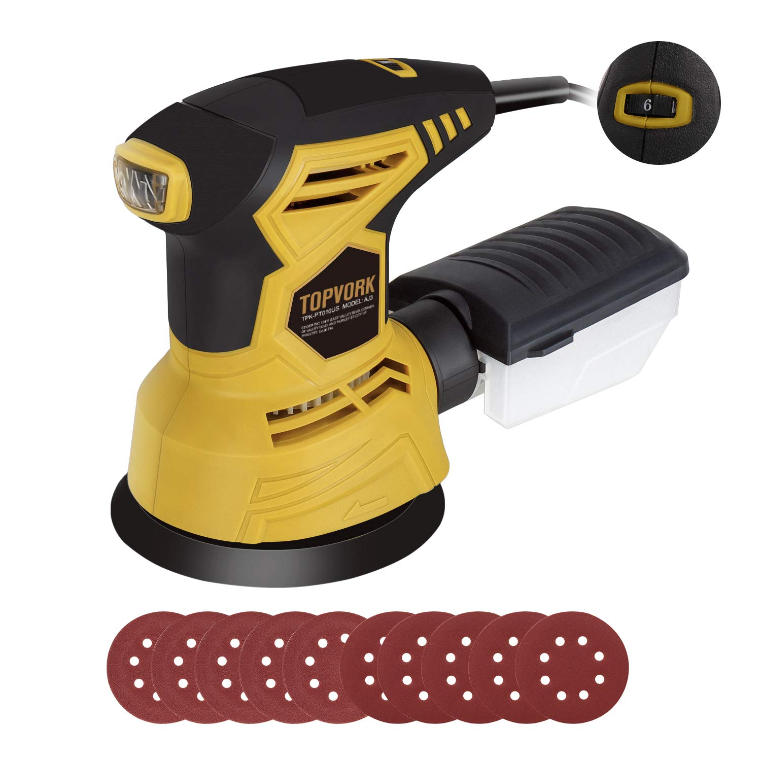 TOPVORK Random Orbit Sander, 2.5A 5-inch sander with 10Pcs Sandpapers, 12000 OPM, 6 Variable Speed, Dust Collector, Ideal for Sanding, Finishing, Polishing Wood