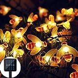 Solar LED Abejas Luz Cadena, 50 LED Luces Exteriores Impermeable 7M con Energía Solar Luces de Hadas para Jardín…