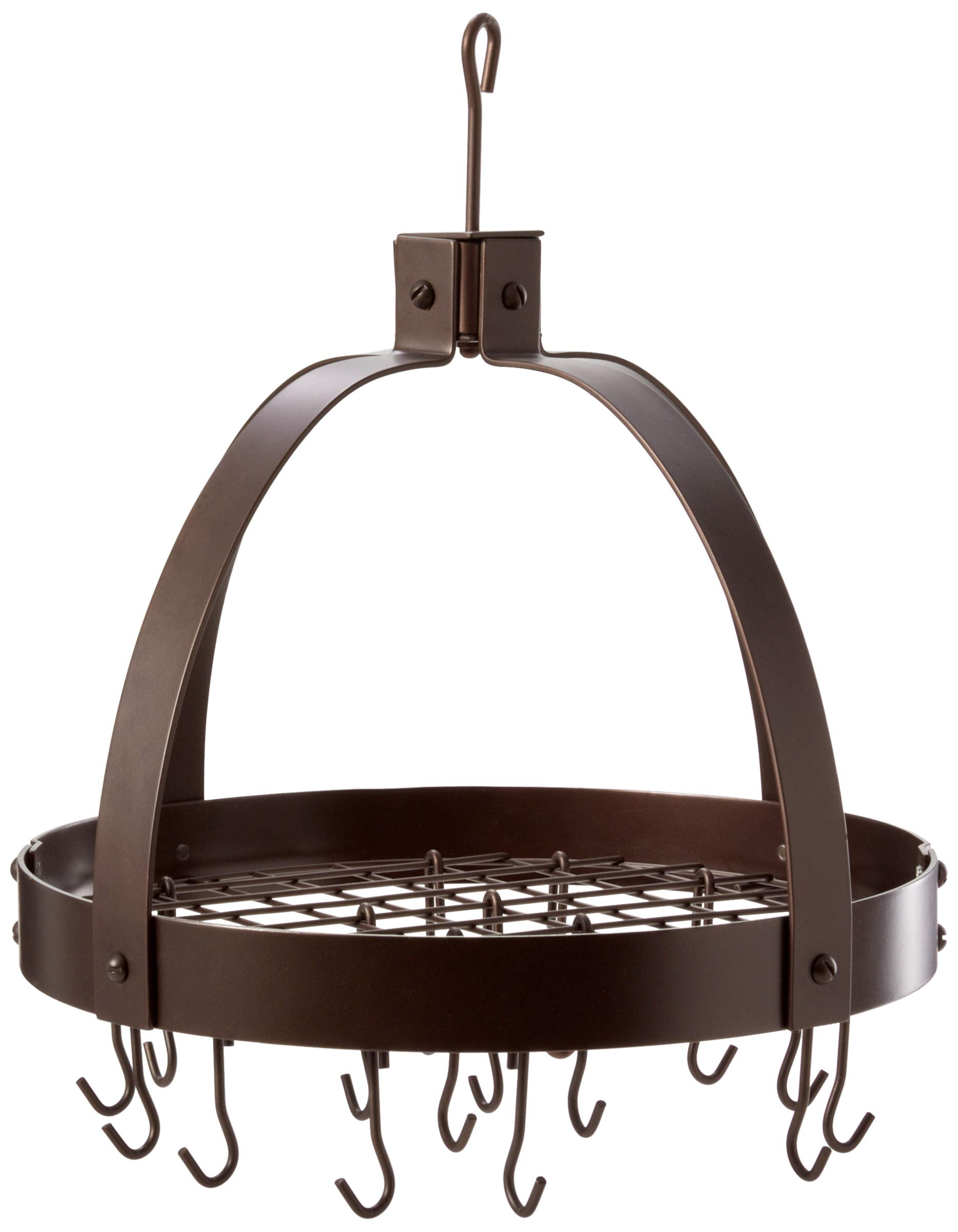Old Dutch Dome Pot Rack with 16 Hooks, Oiled Bronze, 20'' x 15.25'' x 21''