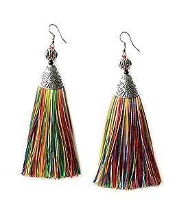Me&Hz Handmade Multicolor Tassels Long Drop Earrings for Women Statement Colorful Fringe Pendant Earrings