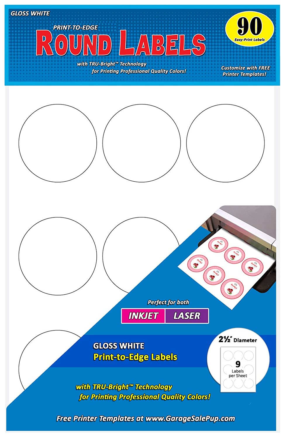 Pack of 90 Permanent Print-to-The-Edge Round Labels, Laser/Inkjet, 2.5-Inch, Glossy White