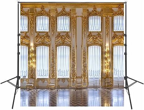 Dorado mosaico blanco pared arte fotografía telón de fondo brillante Windows Luxury interior castillo telón de fondo para estudio fotográfico, fondo 10 X 10FT: Amazon.es: Electrónica
