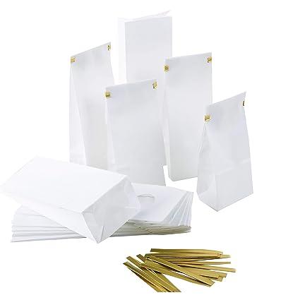 Logbuch-Verlag - 10 bolsas de papel pequeñas blancas con ...