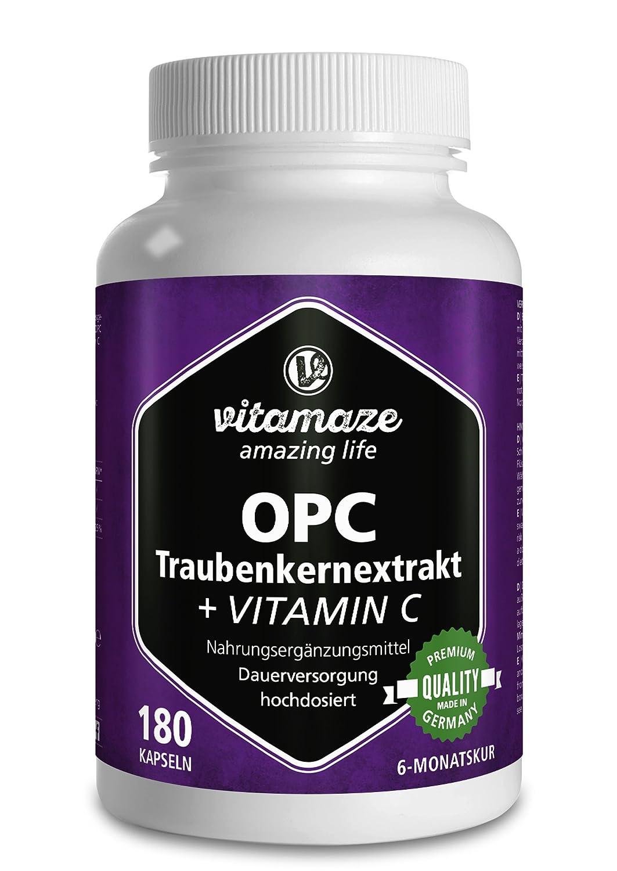 OPC Traubenkern-Extrakt Kapseln, zertifiziert, hochdosiert: 450 mg reines OPC, 180 Kapseln für 6 Monate, OHNE Magnesiumstearat, Made-in-Germany