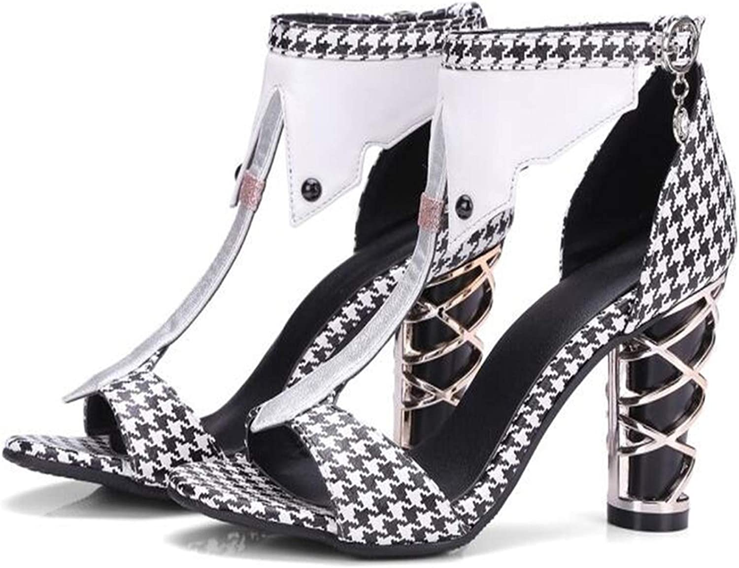 Sandals Plaid Black and White Metal and high Heel Large Size Women,