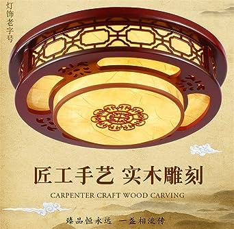 BRIGHTLLT Las luces LED salón chino plafón circular de madera clásica dormitorios arte lámparas de estudio