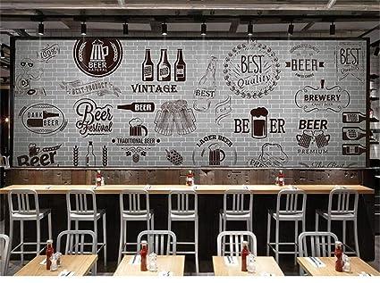 Mural 3d personalizado Cemento gris pared de ladrillo blanco ...