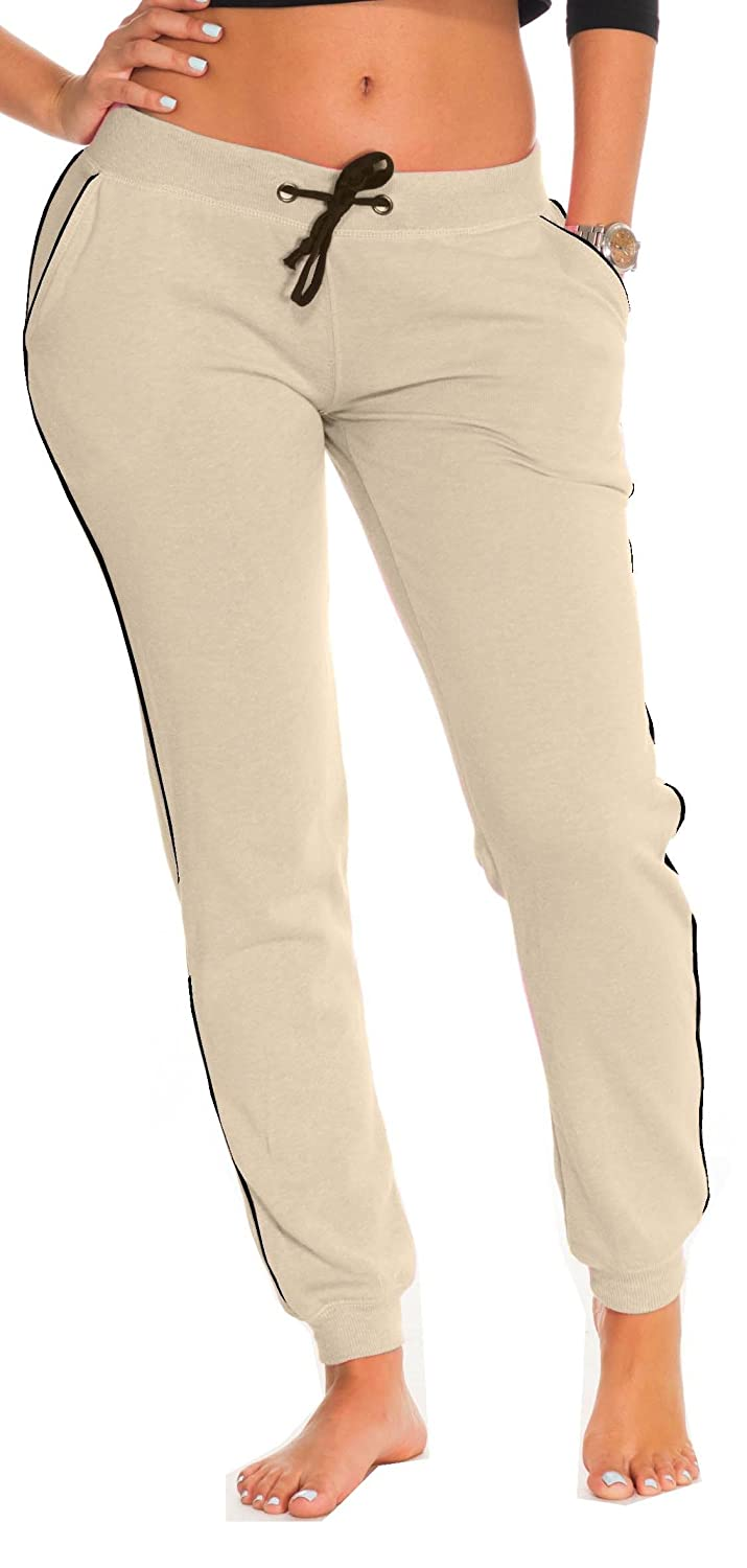 Coco-Limon Fleece Jogger Pants for Women - White Trim, Side Pockets, Long E178P-HC