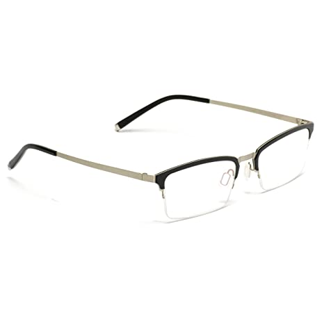 600054bebc Amazon.com  Small Square Rectangular Nerd Glasses Thin Frame Clear Lens  Optical Quality (Metal Silver and Black Frame