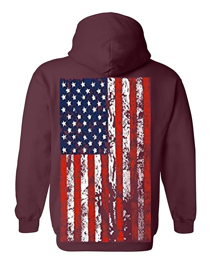 American Flag Mens Hooded Sweatshirt United States USA Tattered Flag Hoodie
