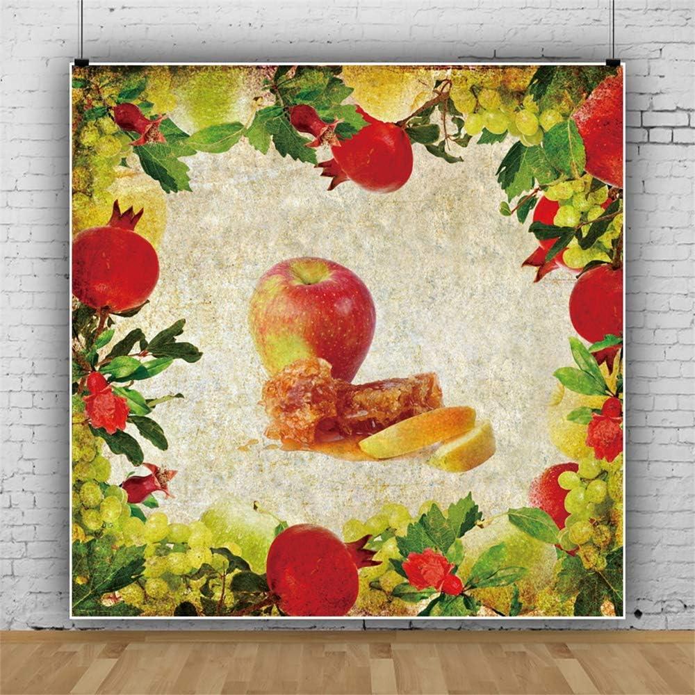 Leowefowa Shabby Rustic Rosh Hashanah Backdrop 6x6ft Apple Hive Honey Pomegranates Grapes Frame Vinyl Grunge Retro Photography Background Jewish New Year Party Banner Wallpaper Studio