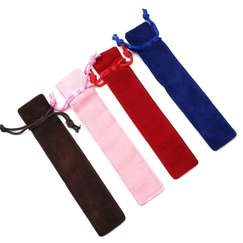 Zhi Jin 20Pcs Single Velvet Drawstring Pen Pouch Sleeve Holder Pen Case Gift Pencil Bag Set-Red