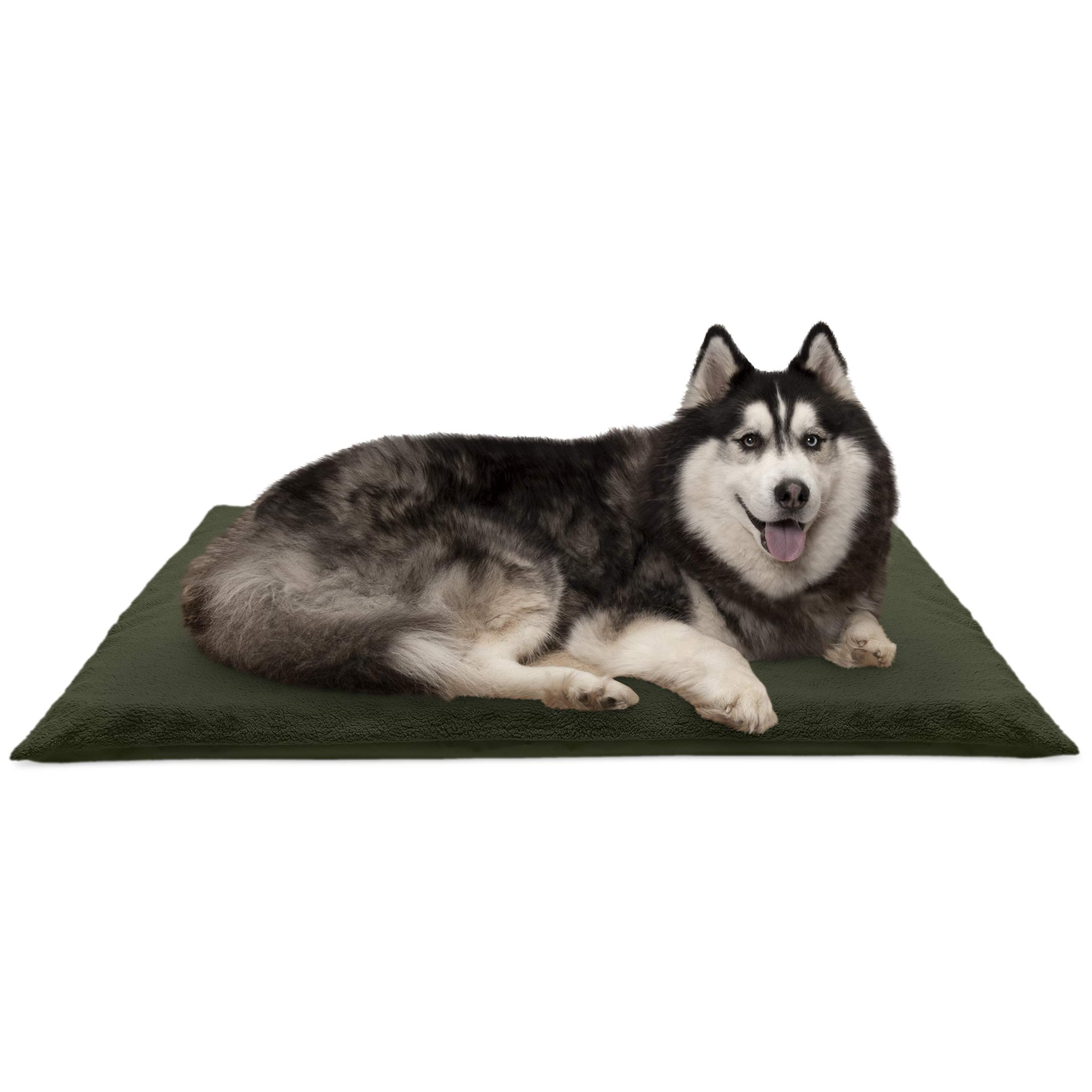 Furhaven Pet Dog Bed | Terry 2-Inch Orthopedic Step-On Mat Foam Mattress Pad Pet Bed w/ Removable Cover for Dogs & Cats, Forest, Jumbo by Furhaven