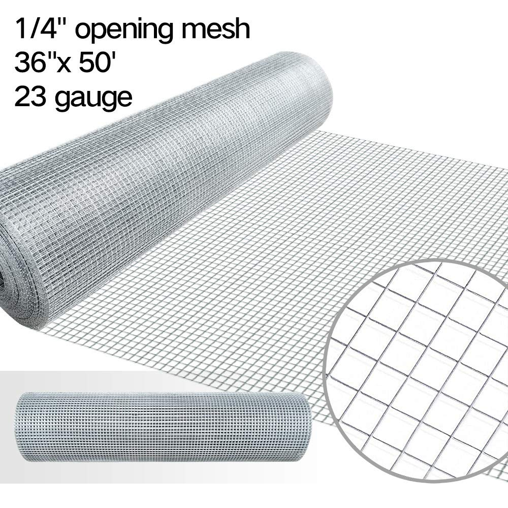 1/4 Hardware Cloth 36 x 50 23 gauge Galvanized Welded Wire Metal Mesh Roll Vegetables Garden Rabbit Fencing Snake Fence for Chicken Run Critters Gopher Racoons Opossum Rehab Cage Wire Window F&T hardware02
