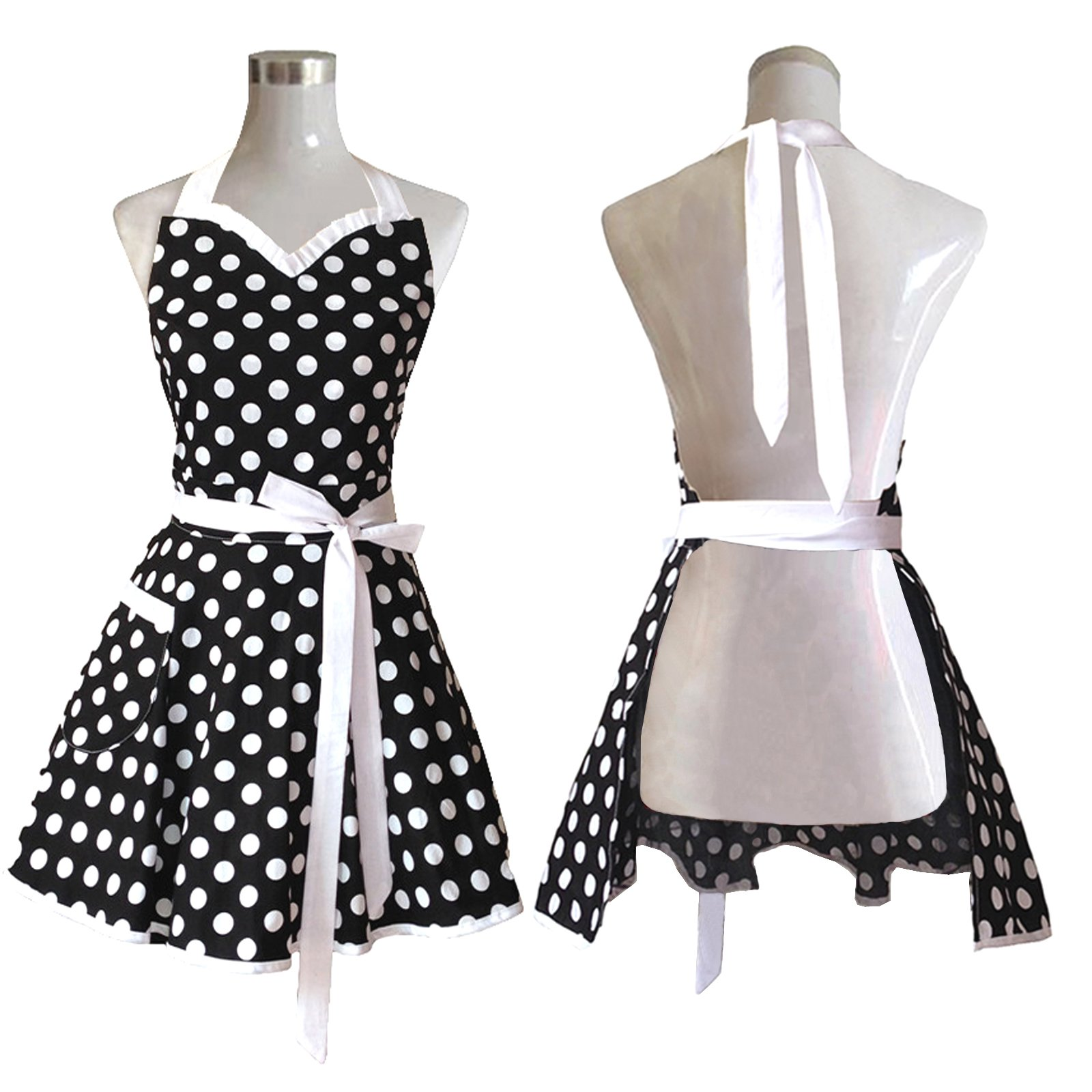 Lovely Sweetheart Black Retro Kitchen Aprons Woman Girl Cotton Polka Dot Cooking Salon Pinafore Vintage Apron Dress Gift