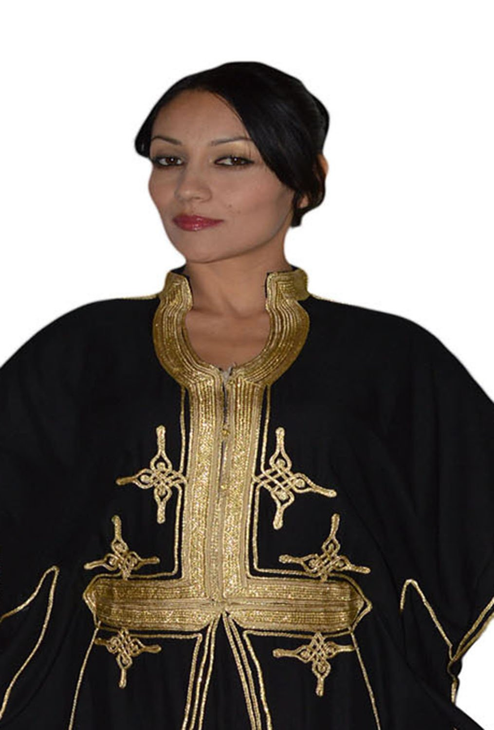 Moroccan Caftan Hand Made Breathable Cotton with Gold Hand Embroidery Long Black by Moroccan Caftans (Image #5)