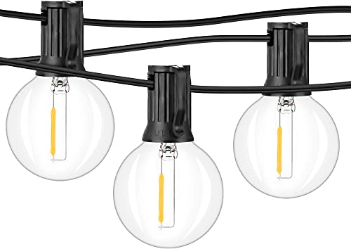 2-Pack 36FT Shatterproof LED G40 String Lights with 54 Dimmable Clear Plastic Globe Vintage Edison Bulbs, Upgraded Waterproof Outdoor Indoor Cafe Light for Patio Garden Backyard Tent Decor, Black 72FT