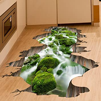 Wall Stickers,GOODCULLER 3D Stream Floor Wall Sticker Removable Mural Art  Removable Wall Sticker Background