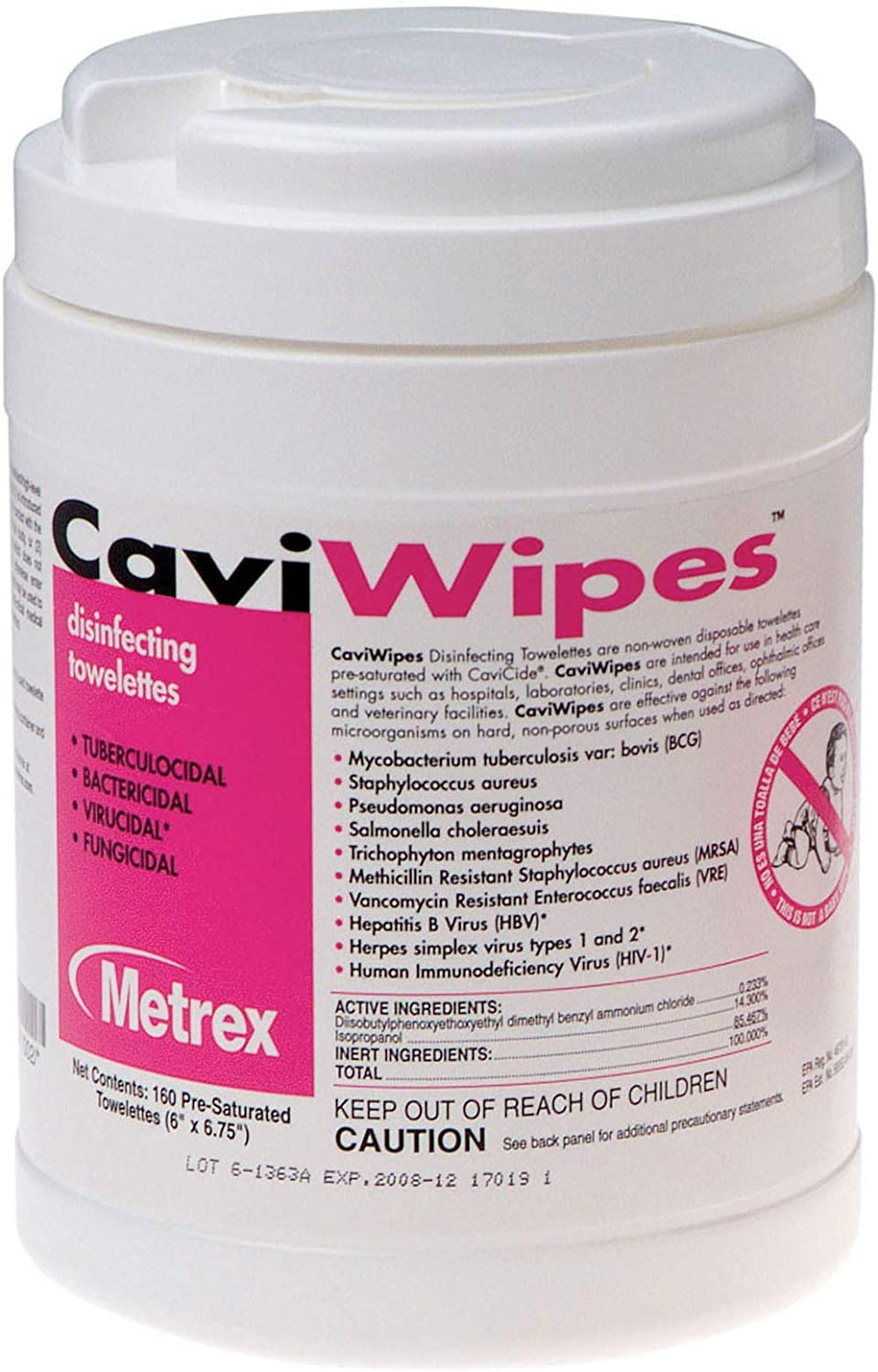 CaviWipes Metrex Disinfecting Towelettes Canister Wipes, 160 Count: Health & Personal Care