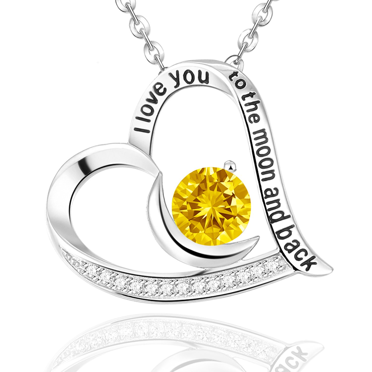 Moon Love Heart November Birthstone Citrine Necklace Sterling Silver Fine Jewelry Birthday Christmas Gift for Her,18